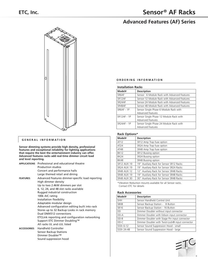 Sensor AF Racks ETC, Inc  Advanced Features (AF) Series