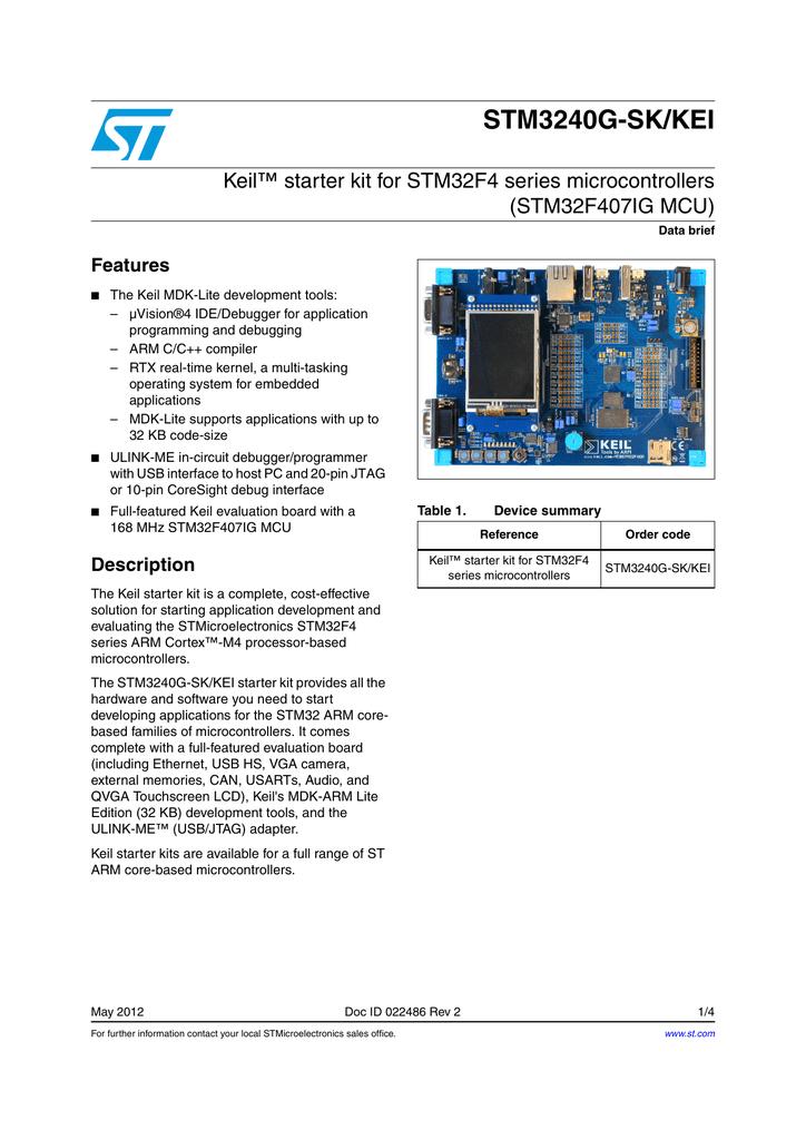 STM3240G-SK/KEI Keil™ starter kit for STM32F4 series