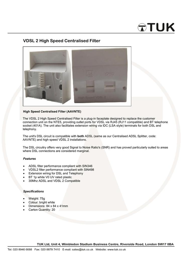 VDSL 2 High Speed Centralised Filter   manualzz com