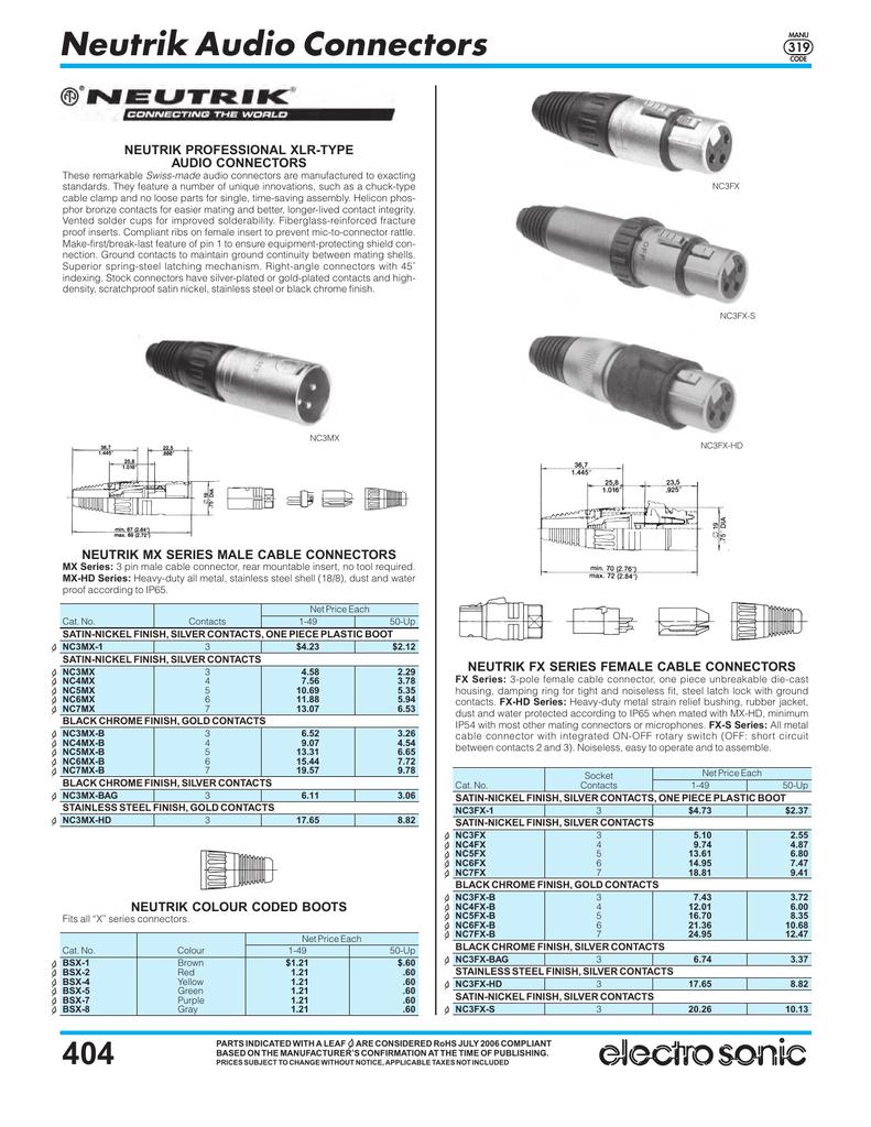 Neutrik/ /nc3mrc-bag /· connecteur XLR