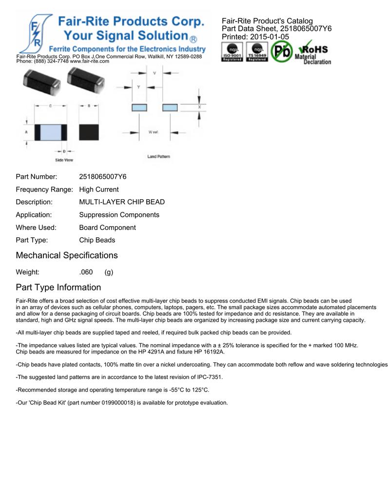 Fair-Rite Product's Catalog Part Data Sheet, 2518065007Y6