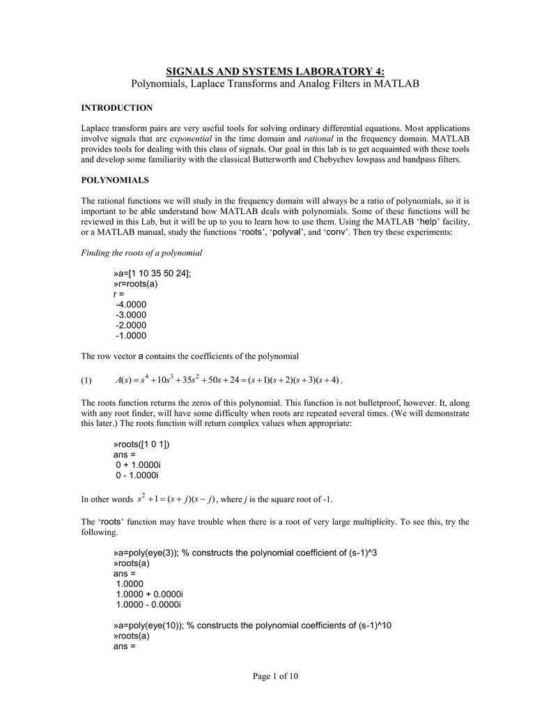 SIGNALS AND SYSTEMS LABORATORY 4: | manualzz com