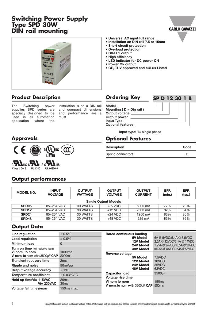 SPD05-60-1 SPD05601 POWER SUPPLY