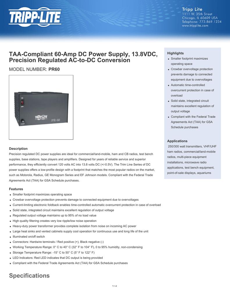 TAA-Compliant 60-Amp DC Power Supply, 13 8VDC, Precision