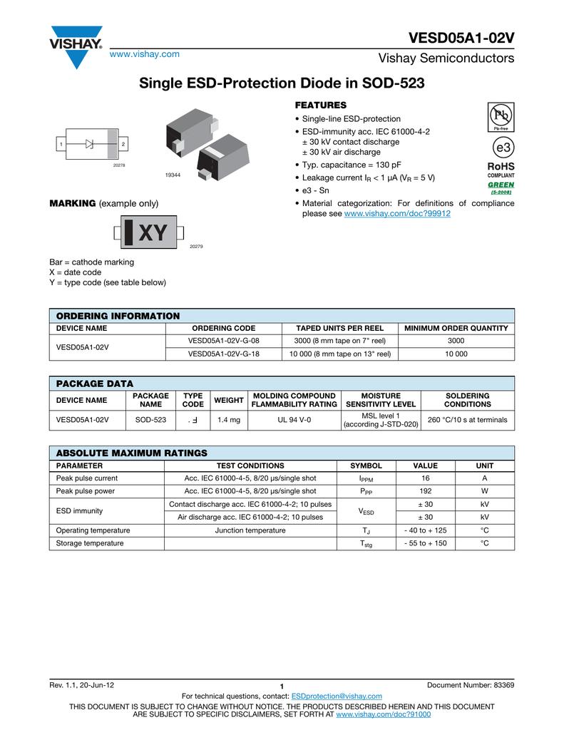 VESD05A1-02V Single ESD-Protection Diode in SOD-523 Vishay