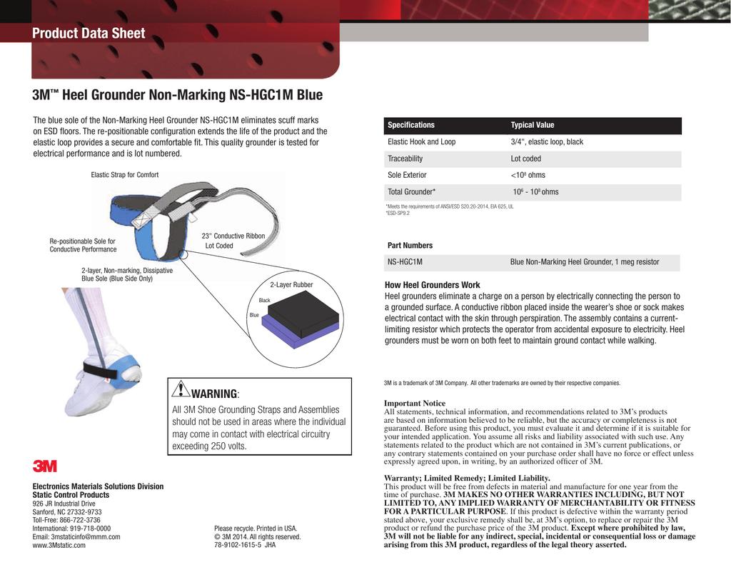 3M Heel Grounder Non-Marking NS-HGC1M Blue Product Data
