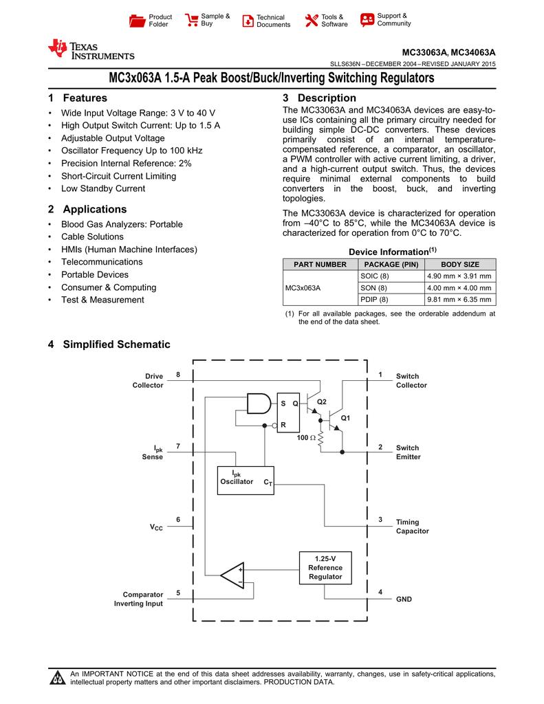 Mc3x063a 15 A Peak Boost Buck Inverting Switching Regulators 1 The Stepup Converter Mc34063a Features 3 Description