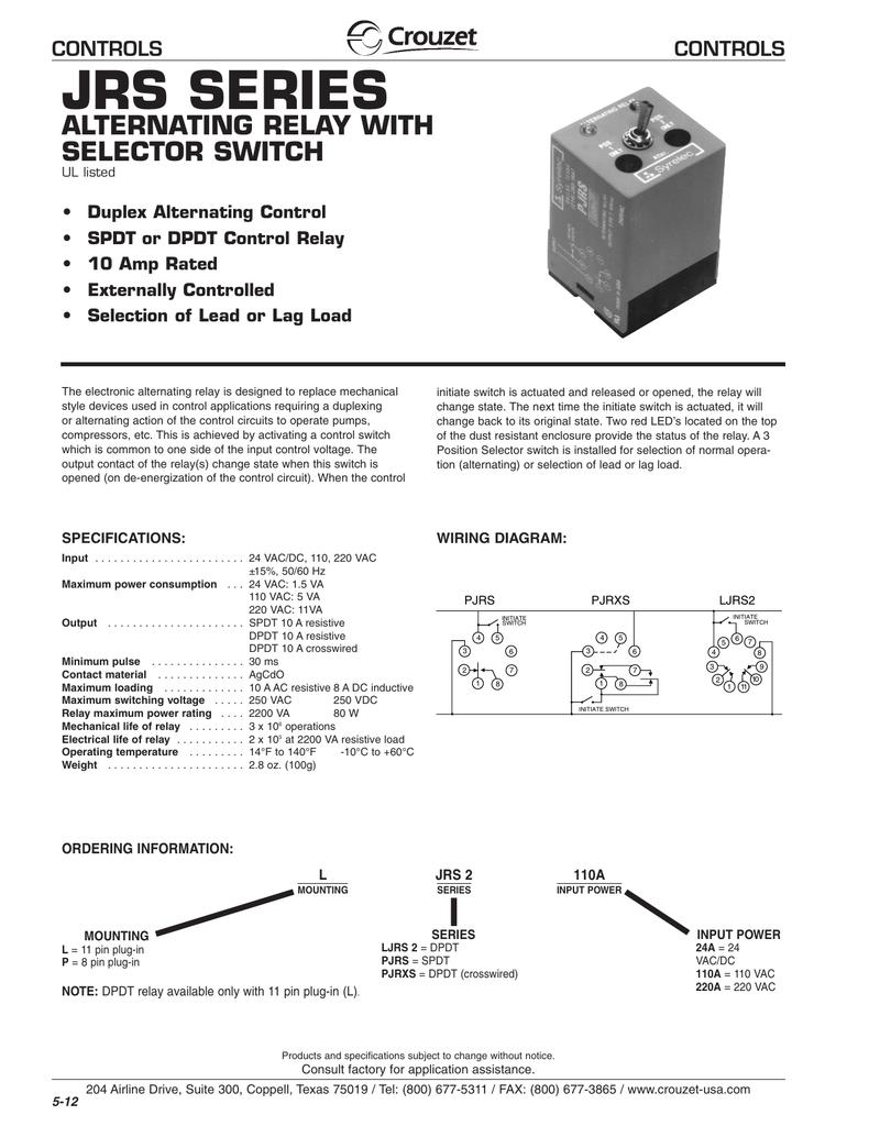 circuit diagram alternating relay switch jrs series alternating relay with selector switch controls manualzz  relay with selector switch controls