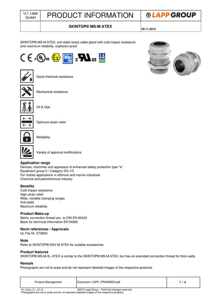 PRODUCT INFORMATION SKINTOP® MS-M ATEX U I  Lapp   manualzz com