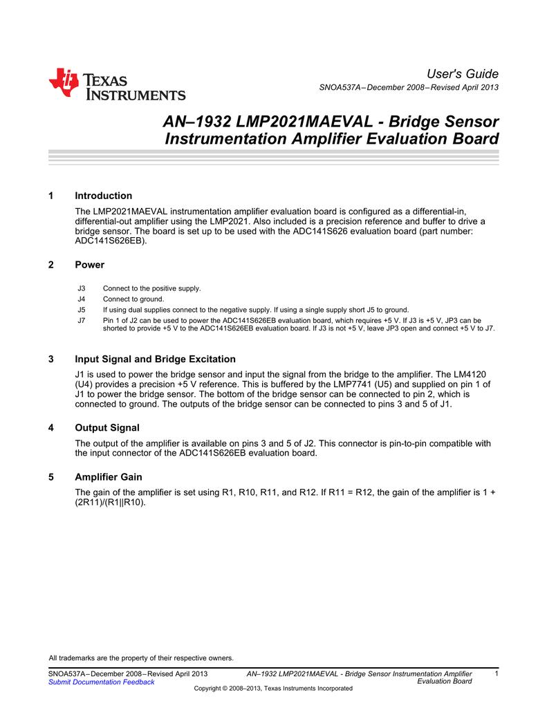 An1932 Lmp2021maeval Bridge Sensor Instrumentation Amplifier Singlesupply Evaluation Board Users Guide 1
