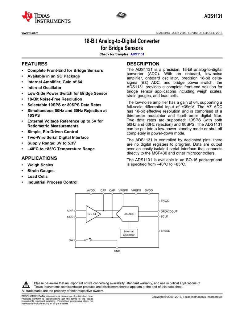 18-Bit Analog-to-Digital Converter for Bridge Sensors ADS1131