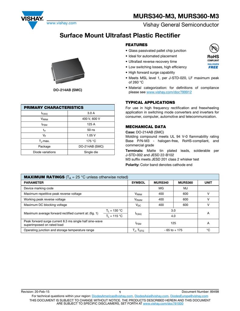 MURS340-M3, MURS360-M3 Surface Mount Ultrafast Plastic