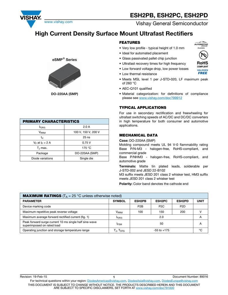 ESH2PB, ESH2PC, ESH2PD High Current Density Surface Mount