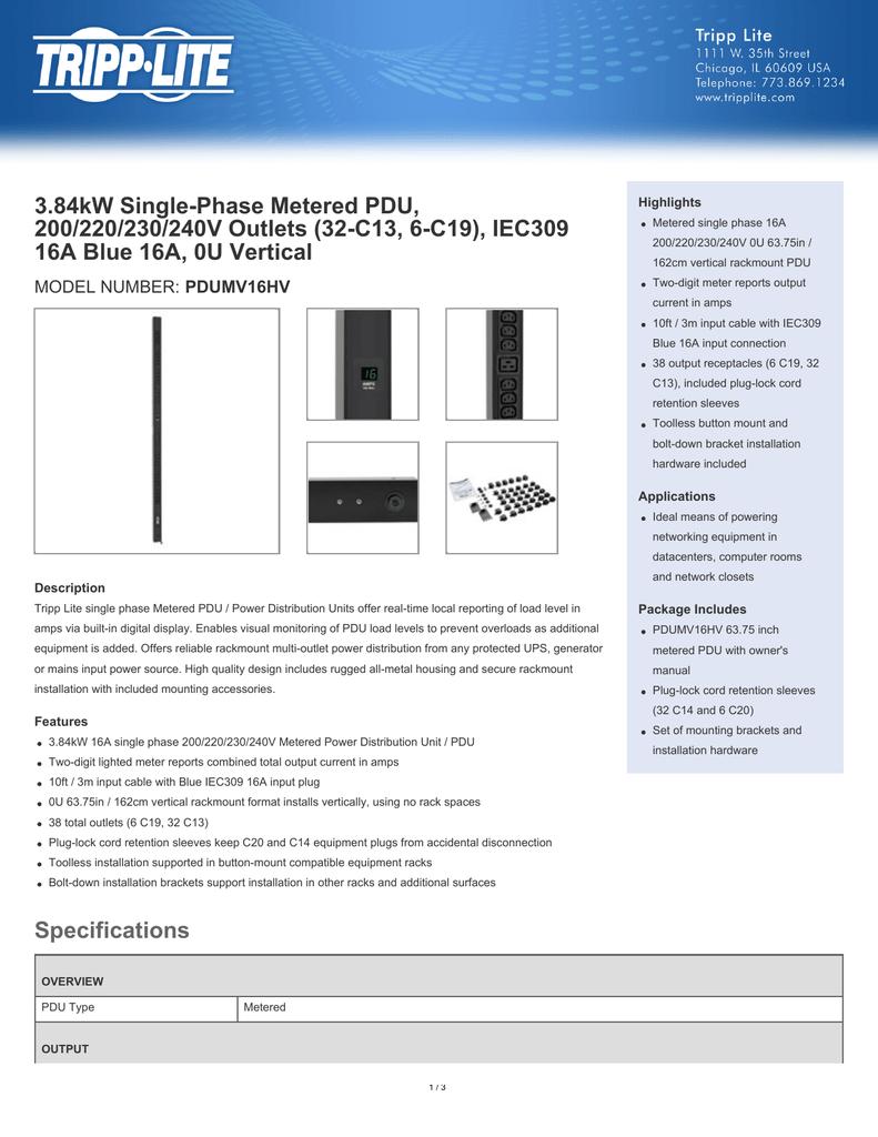 3 84kW Single-Phase Metered PDU, 200/220/230/240V Outlets