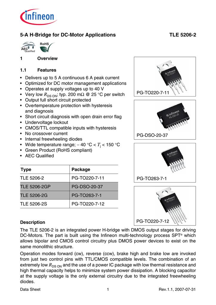 TLE5206-2S IC Pilote moteur par TO220-7 5206-2 S