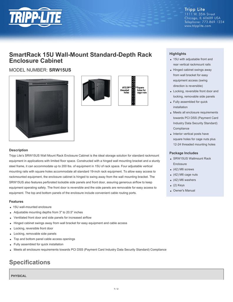 SmartRack 15U Wall-Mount Standard-Depth Rack Enclosure