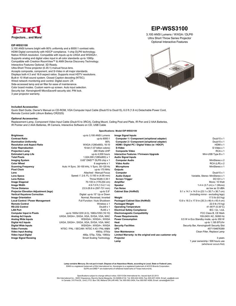 EIP-WSS3100 3,100 ANSI Lumens / WXGA / DLP® Optional