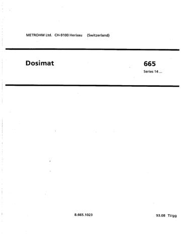Dosimat 665 manual ENG.pdf | Manualzz