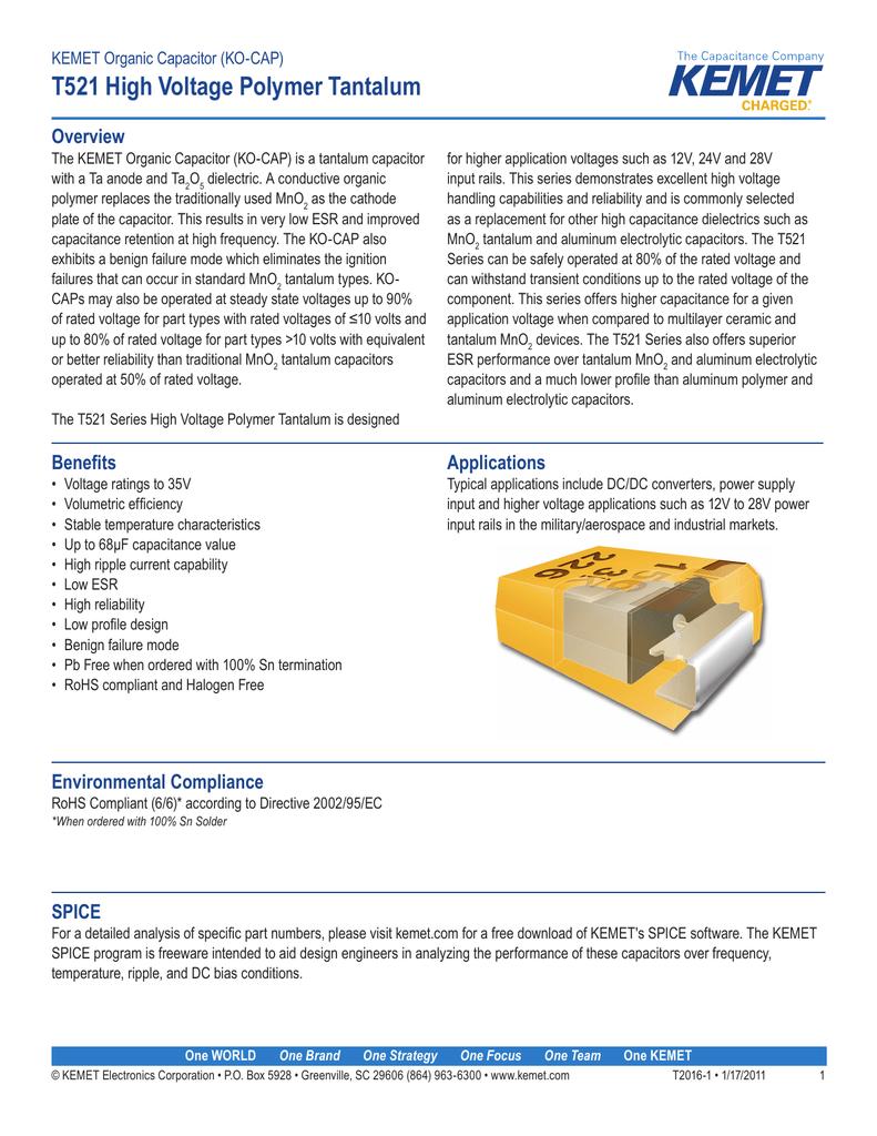 T521 High Voltage Polymer Tantalum Overview KEMET Organic