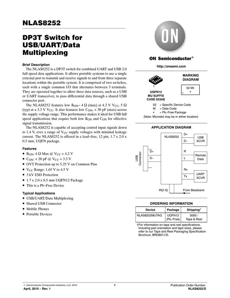 NLAS8252 DP3T Switch for USB/UART/Data Multiplexing