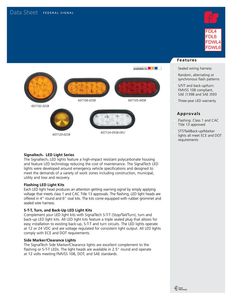 Federal Signal 607124-05SB Signaltech LED Back Up Light White