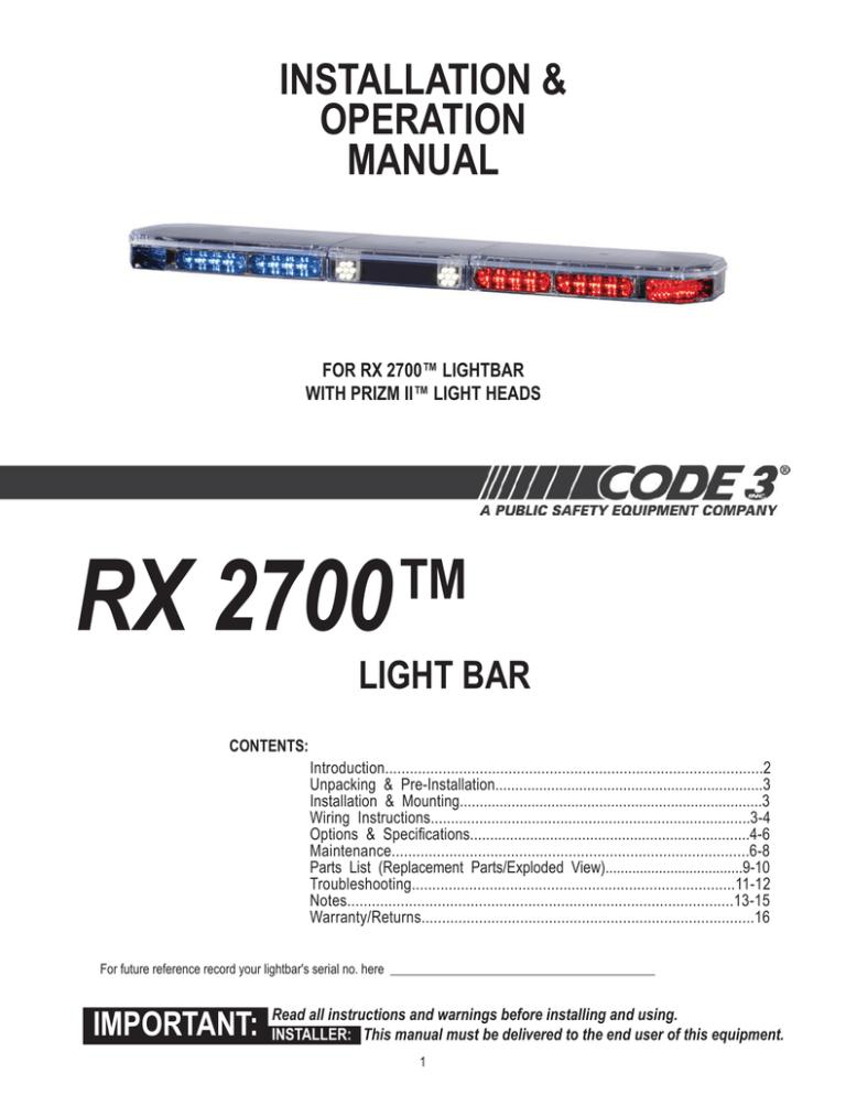 RX 2700™ INSTALLATION & OPERATION MANUAL   ManualzzManualzz