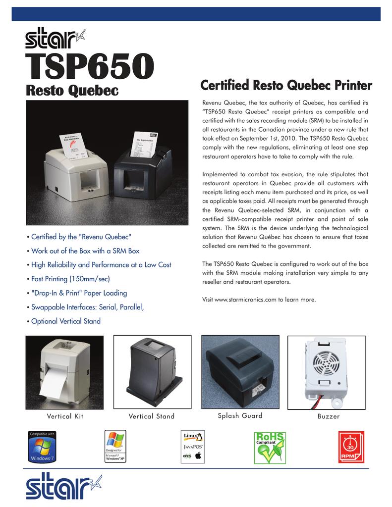TSP650 Resto Quebec Certified Resto Quebec Printer