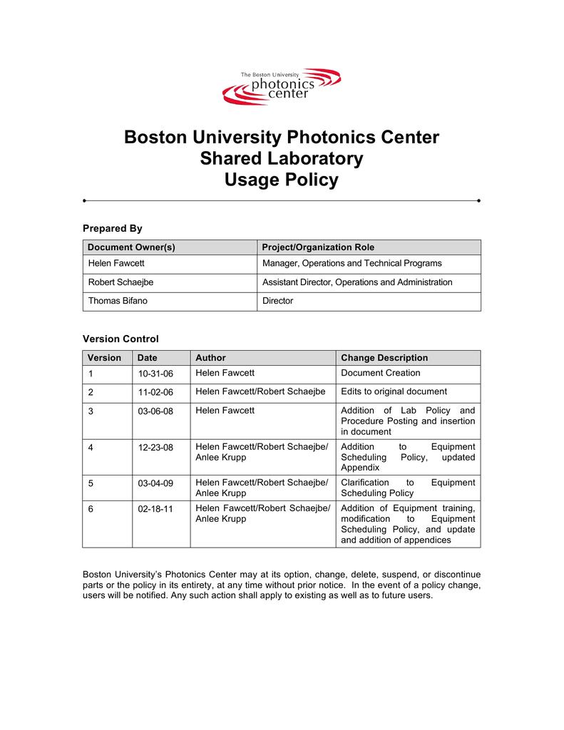 Boston University Photonics Center Shared Laboratory Usage