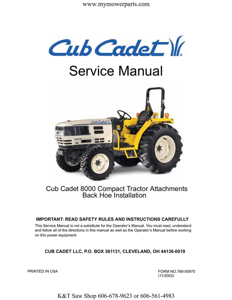 Service Manual Cub Cadet 8000 Compact Tractor Attachments