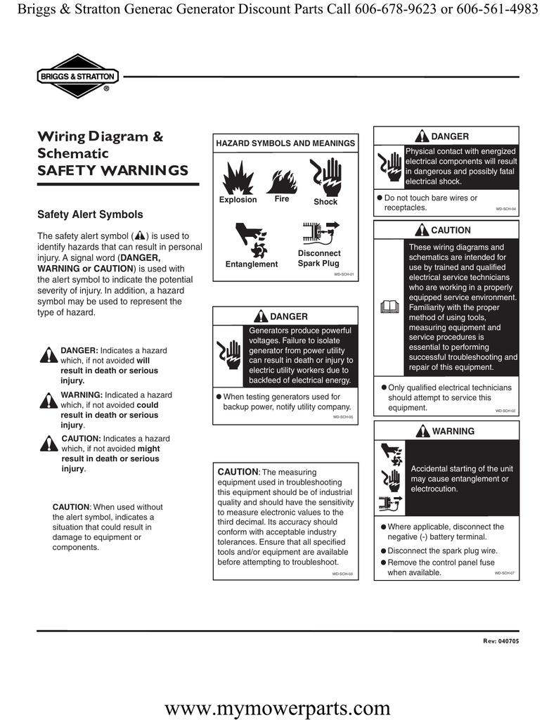 Wiring Diagram & Schematic SAFETY WARNINGS DANGER   manualzz com