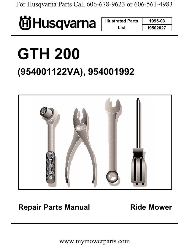 GTH 200 (954001122VA), 954001992 Repair Parts Manual Ride Mower |  manualzz.com
