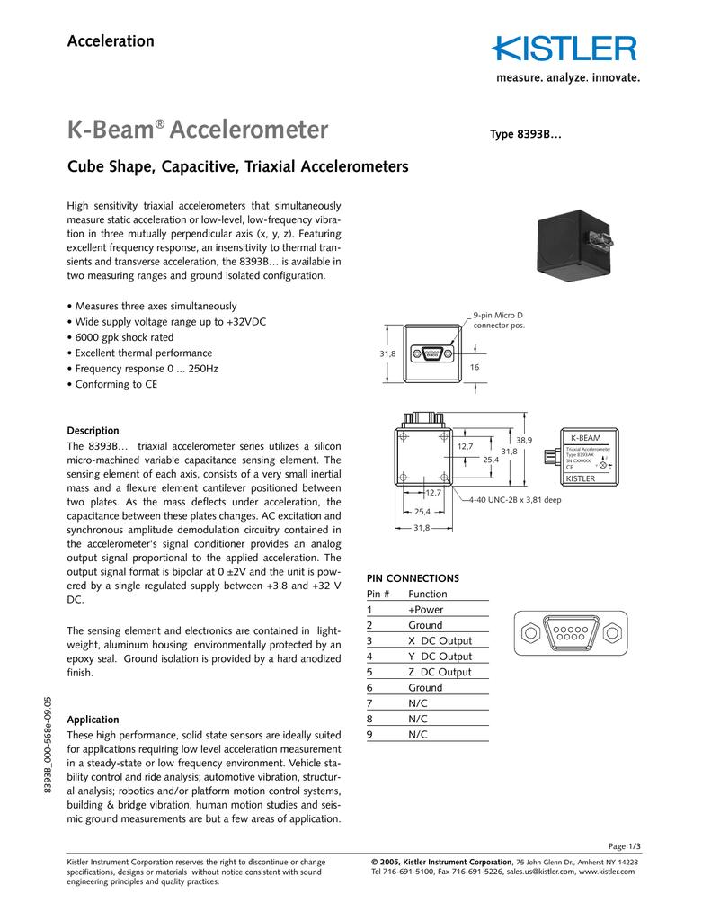 K-Beam Accelerometer Acceleration Cube Shape, Capacitive