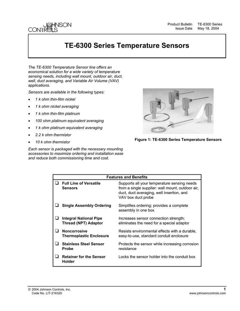 Johnson Controls TE-6314P-1 Temperature Sensor Wall Mount
