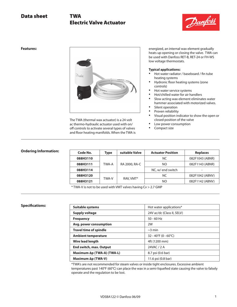 Data sheet TWA Electric Valve Actuator Features: | manualzz com