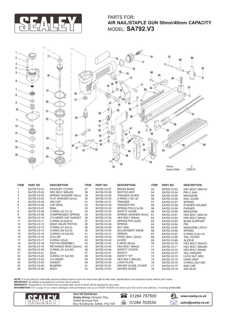 Sealey SA792 Air Nail//agrafeuse 50mm//40mm Capacité
