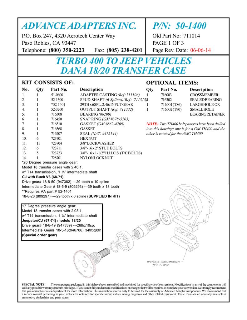 ADVANCE ADAPTERS INC  P/N: 50-1400 | manualzz com