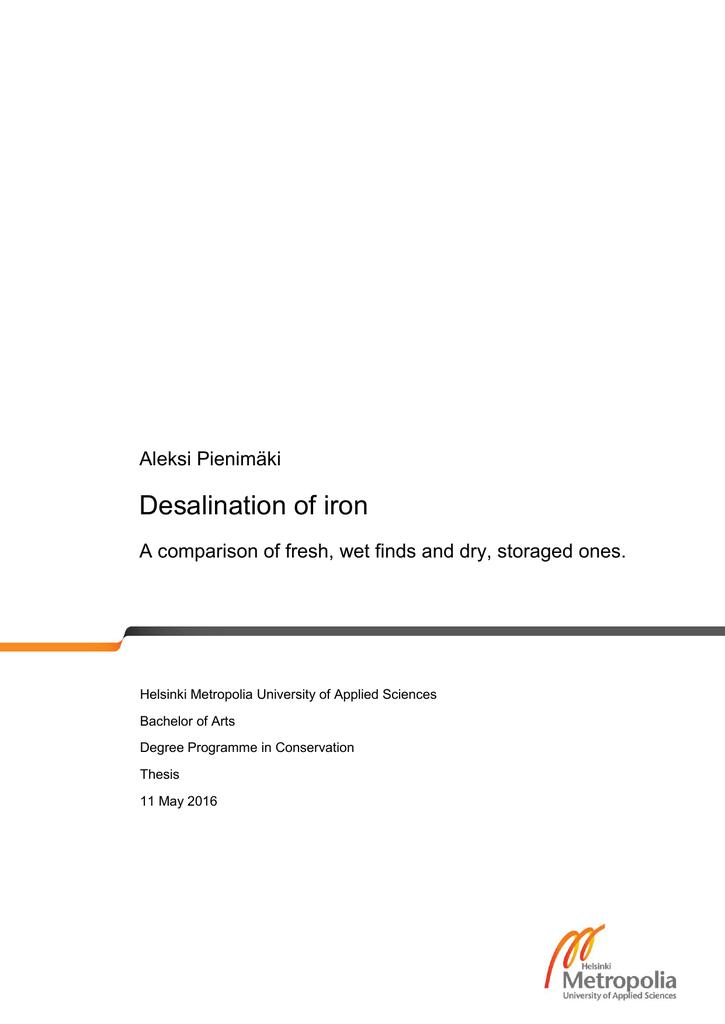 Desalination of iron Aleksi Pienimäki | manualzz.com