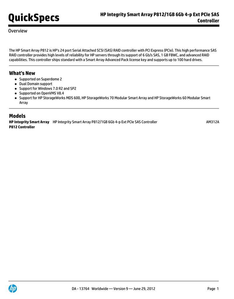 QuickSpecs HP Integrity Smart Array P812/1GB 6Gb 4-p Ext PCIe SAS