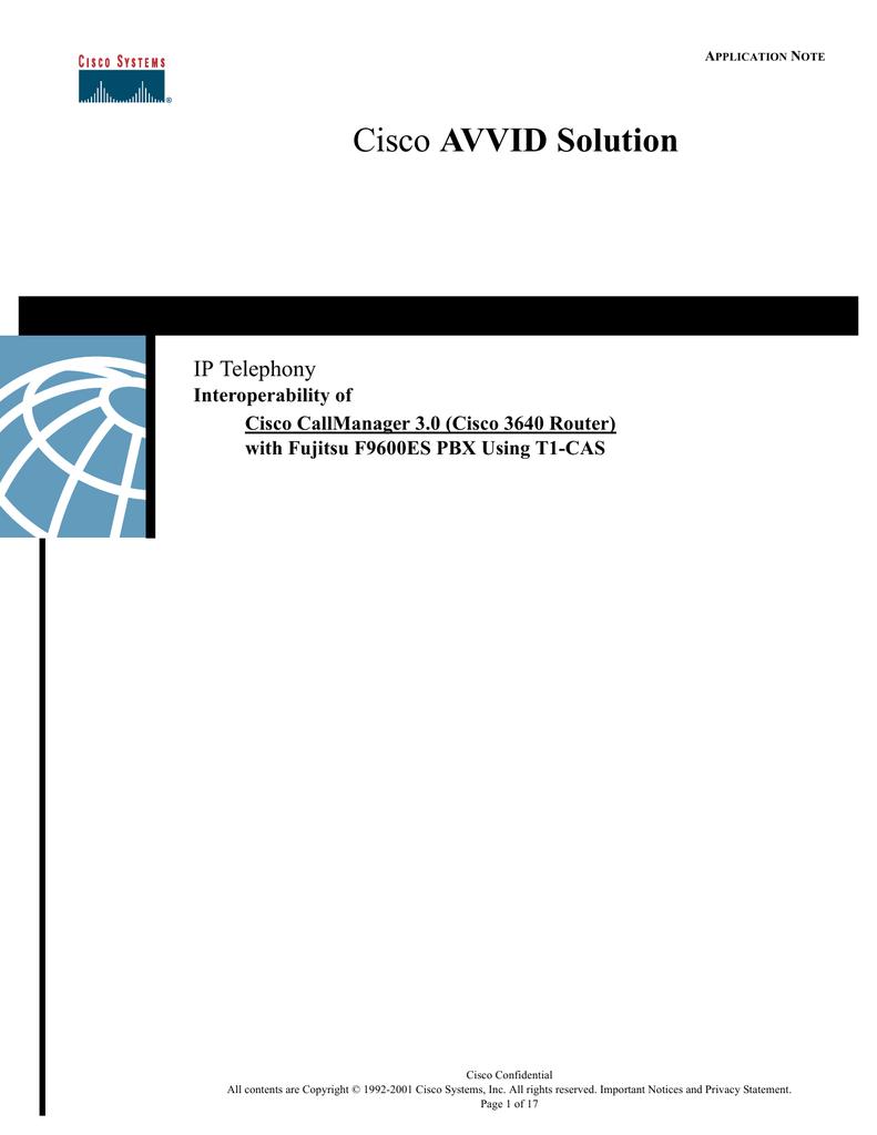 AVVID Solution IP Telephony Interoperability of Cisco CallManager