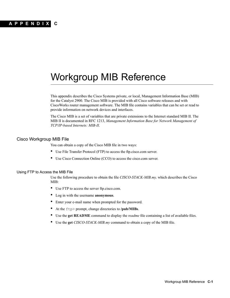 Workgroup MIB Reference A P P E N D I X C | manualzz com