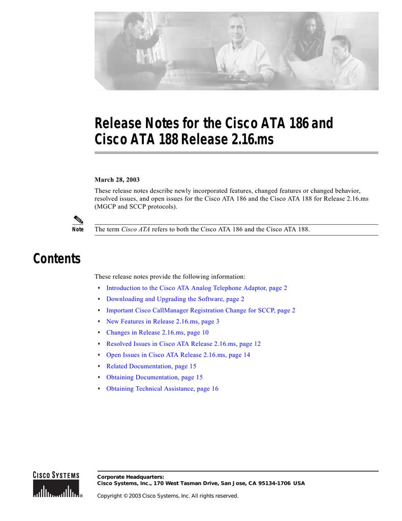 Release Notes for the Cisco ATA 186 and | manualzz com