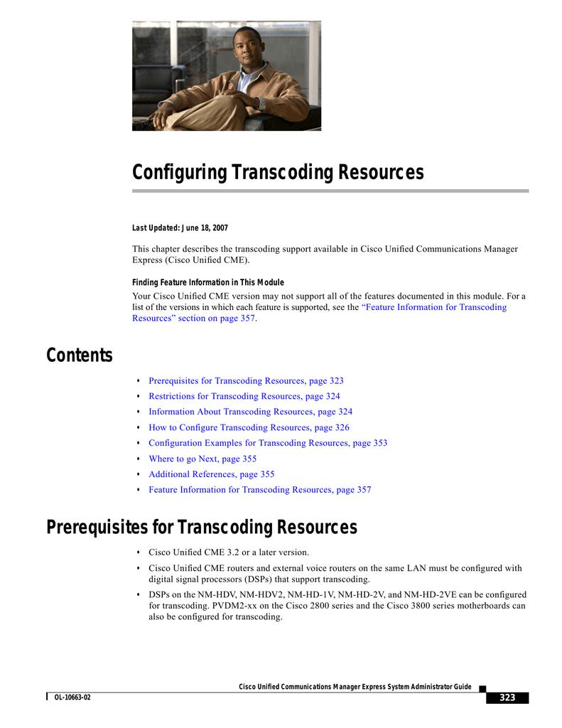 Configuring Transcoding Resources   manualzz com