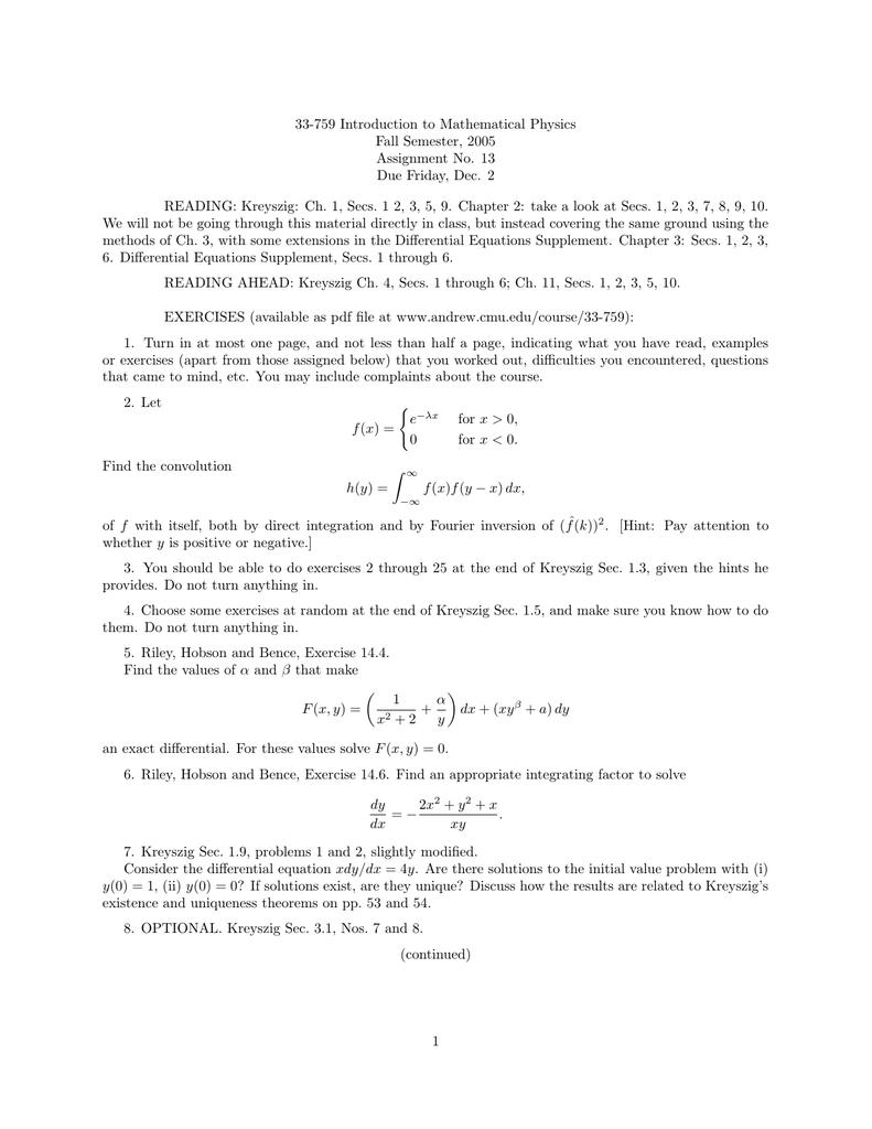 33-759 Introduction to Mathematical Physics Fall Semester