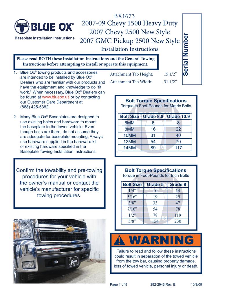 Blue Ox BX3775 Baseplate Toyota Highlander