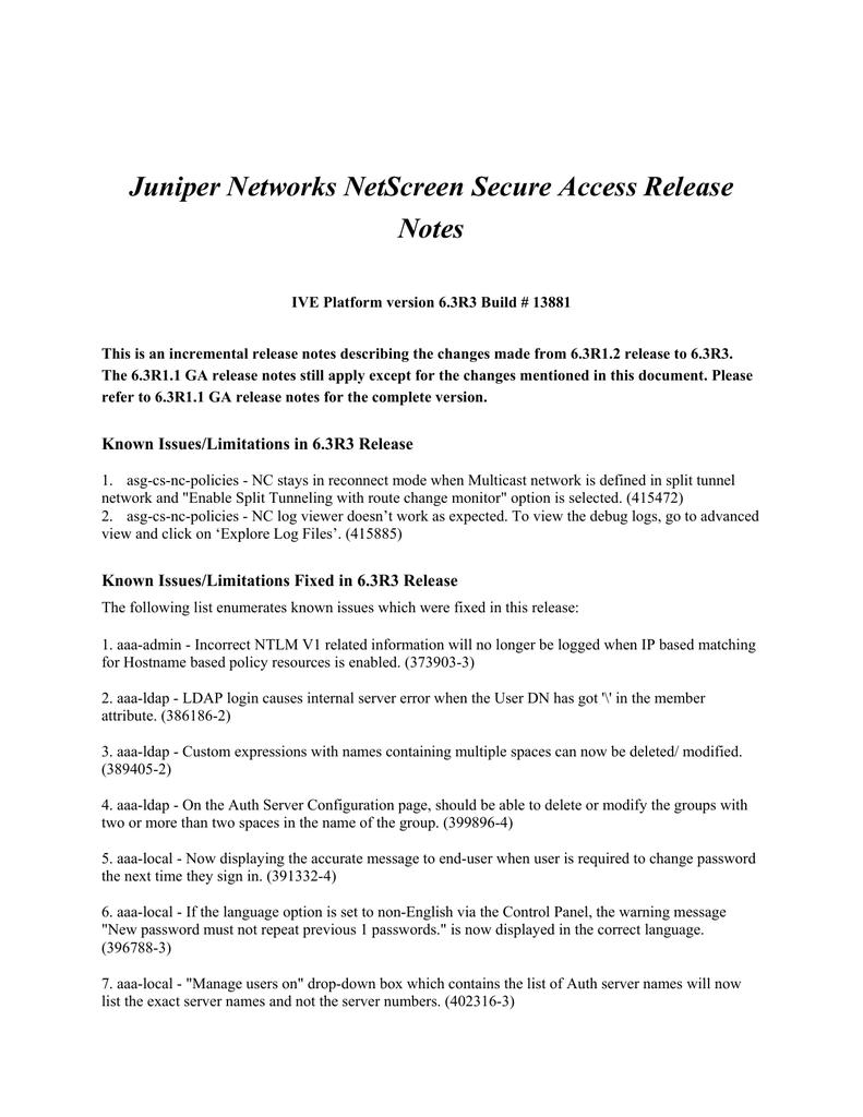 Juniper Networks NetScreen Secure Access Release Notes
