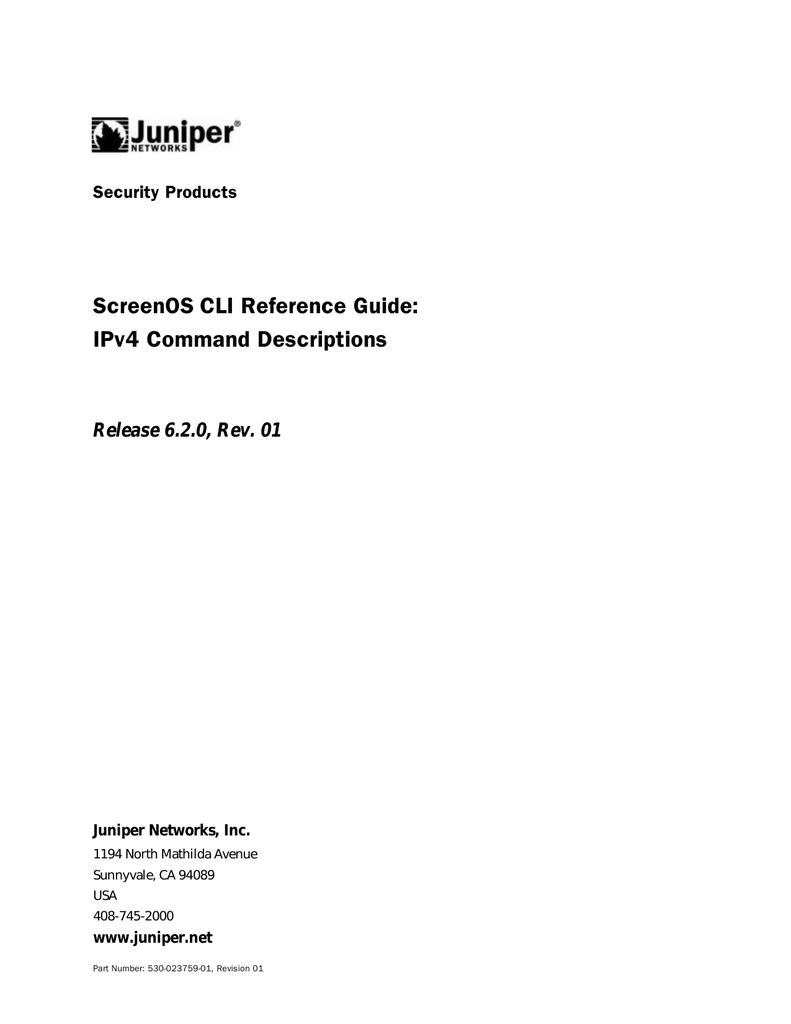 ScreenOS CLI Reference Guide: IPv4 Command Descriptions | manualzz com