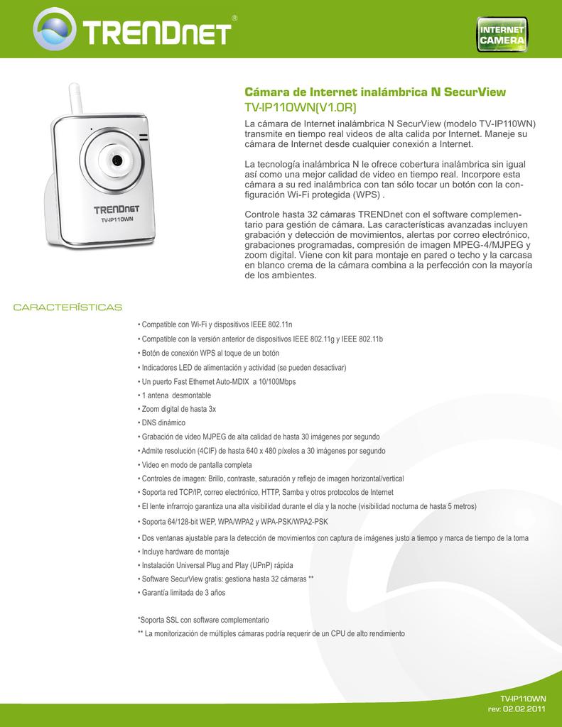 TRENDNET TV-IP410WN (VERSION V1.0R) NETWORK CAMERA DRIVER FOR WINDOWS DOWNLOAD