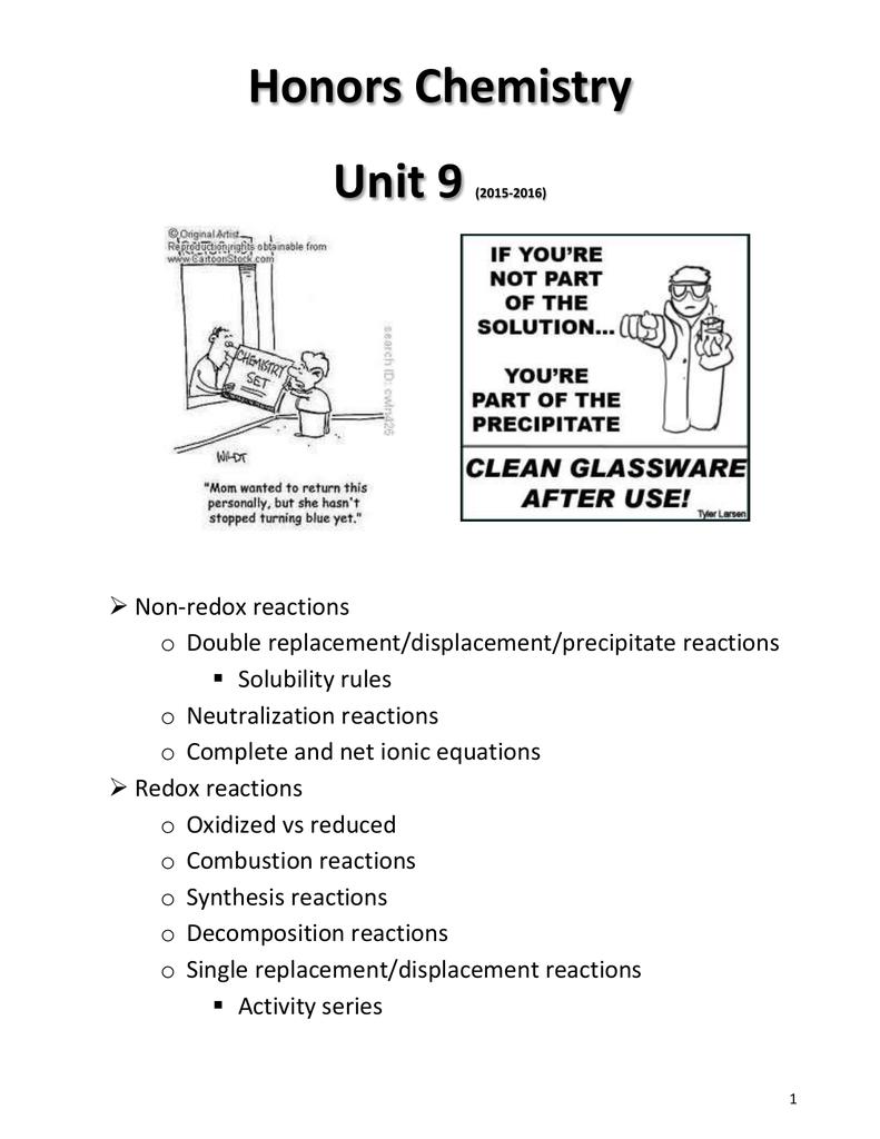 Honors Chemistry Unit 9 | manualzz com
