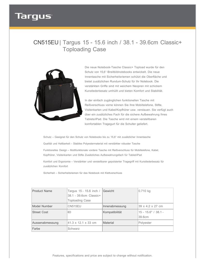 Cn515eu Targus 15 156 Inch 381 396cm Classic Manualzzcom