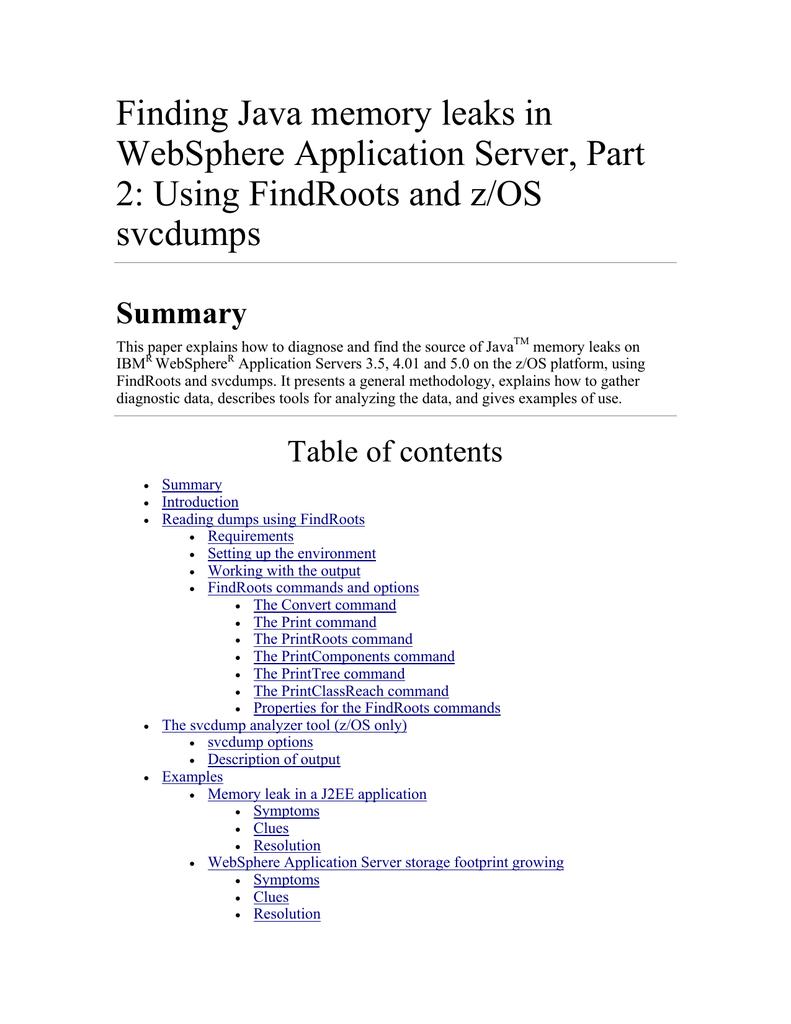 Finding Java memory leaks in WebSphere Application Server